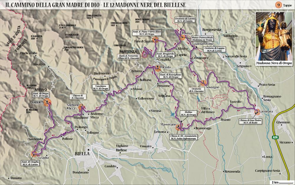 Cartografia. Mappa per guida turistica con itinerario a tappe. Rilievi ottenuti da dati georeferenziati e grafica vettoriale. 2017