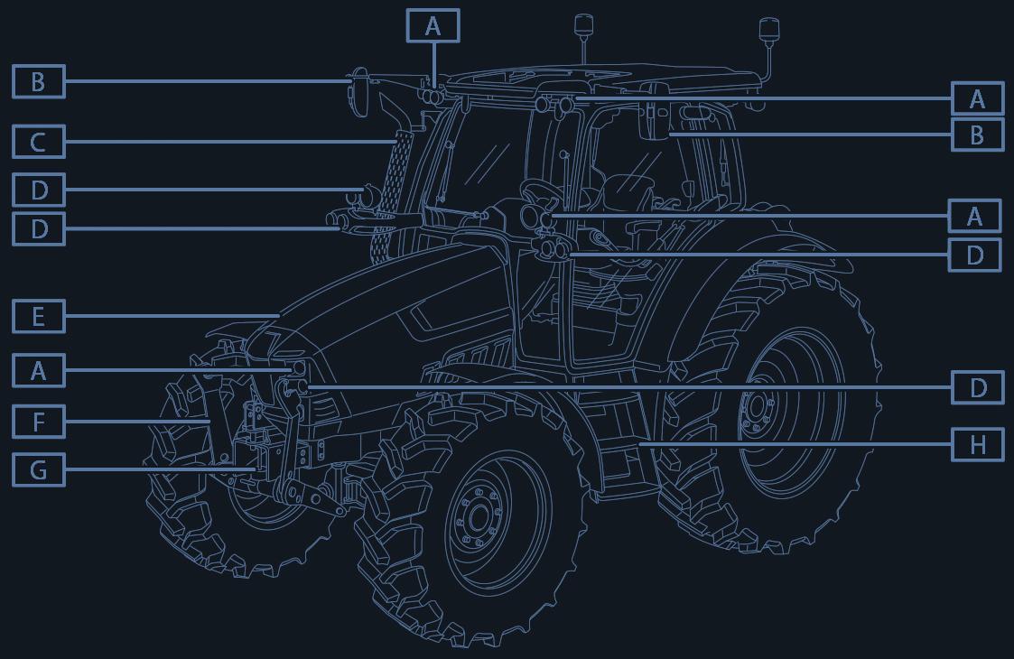 Illustrazione tecnica per manuale Trattore Lamborghini