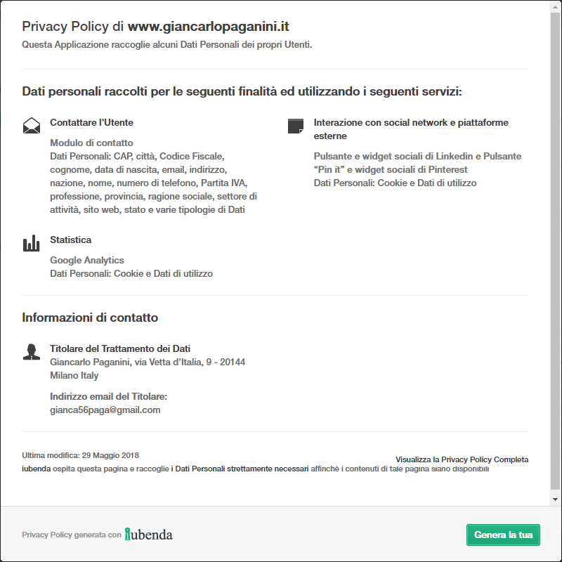 Giancarlo Paganini Privacy Policy Iubenda