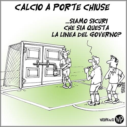 Vignetta con porta di calcio sbarrata con porte e lucchetto
